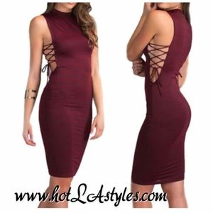 Elise sexy burgundy lace up dress